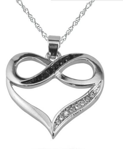 Rhodium Plated Silver Infinity Symbol Love Heart Necklace With Black