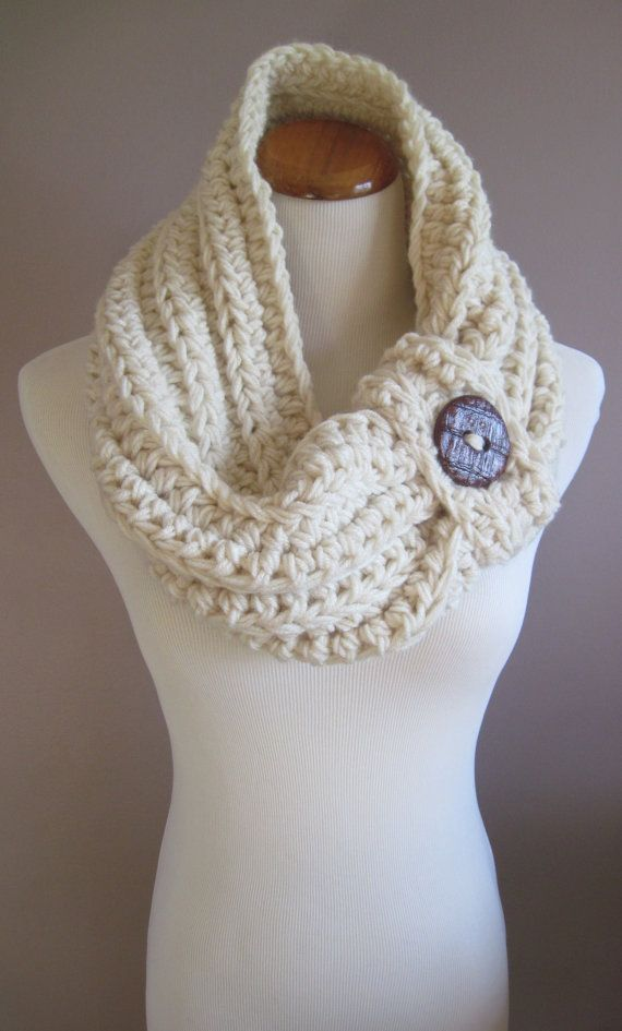 Chunky Bulky Button Crochet Cowl: Off White with Rust Brown Button ...