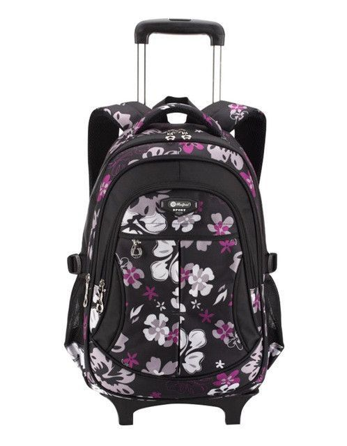 New Children Trolley Backpack School Bags For Grils Wheeled Bag Student  Detachable Rolling Backpacks Women travel fadc56b438193