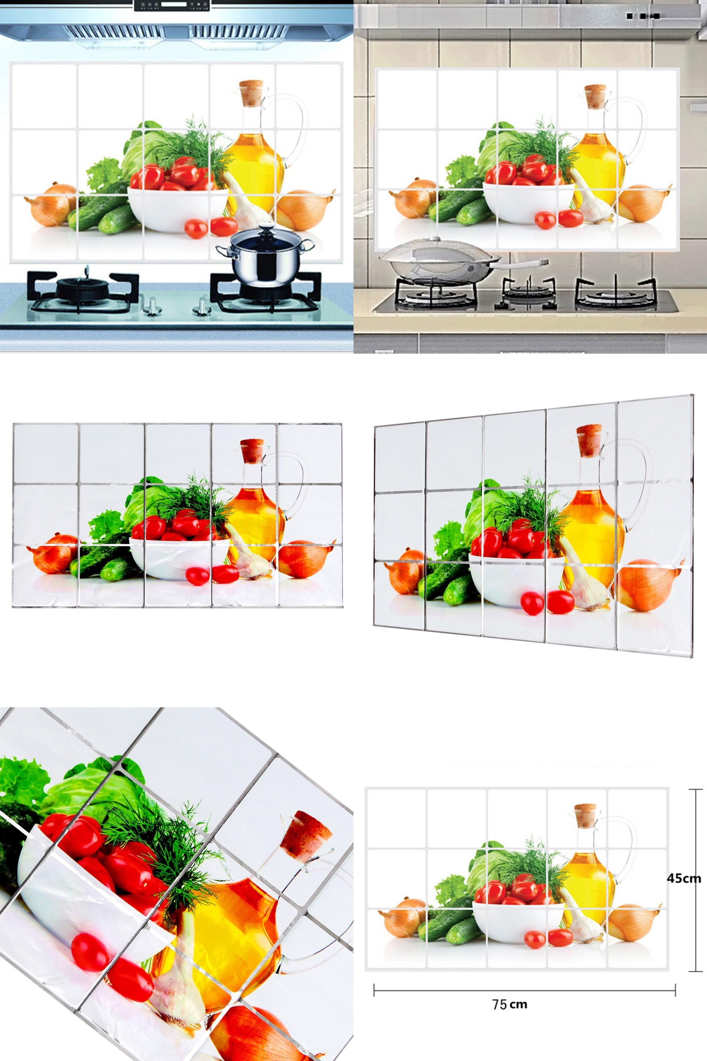 Kitchen Fruit Pattern Wall Paper Foil Wall Sticker Hot Oil Proof Decoration Home