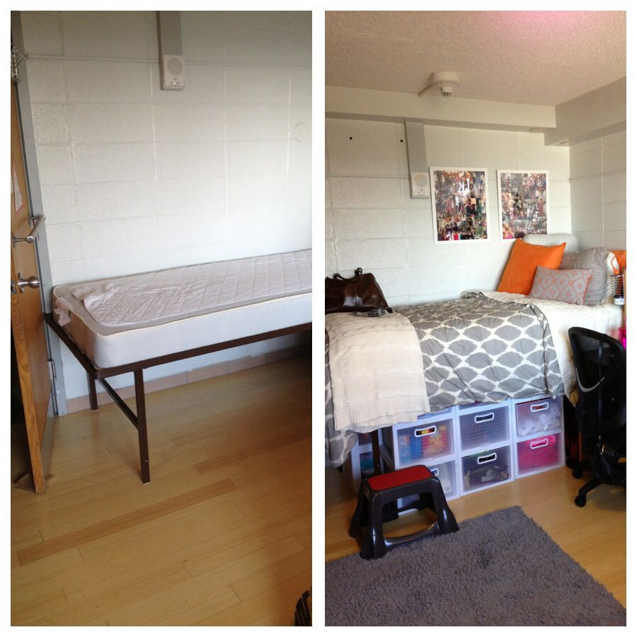 College bed risers - Before And After College Dorm Room