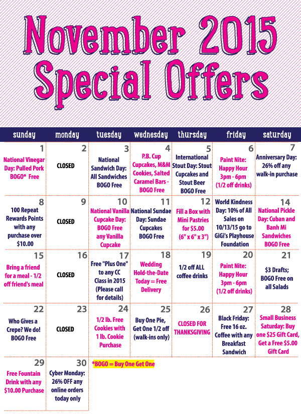 Sign up for Creative Cakes Rewards to have access to all of our amazing specials in November!