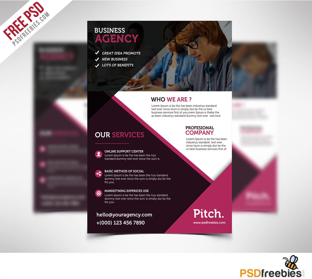 clean and professional business flyer free psd psd print template