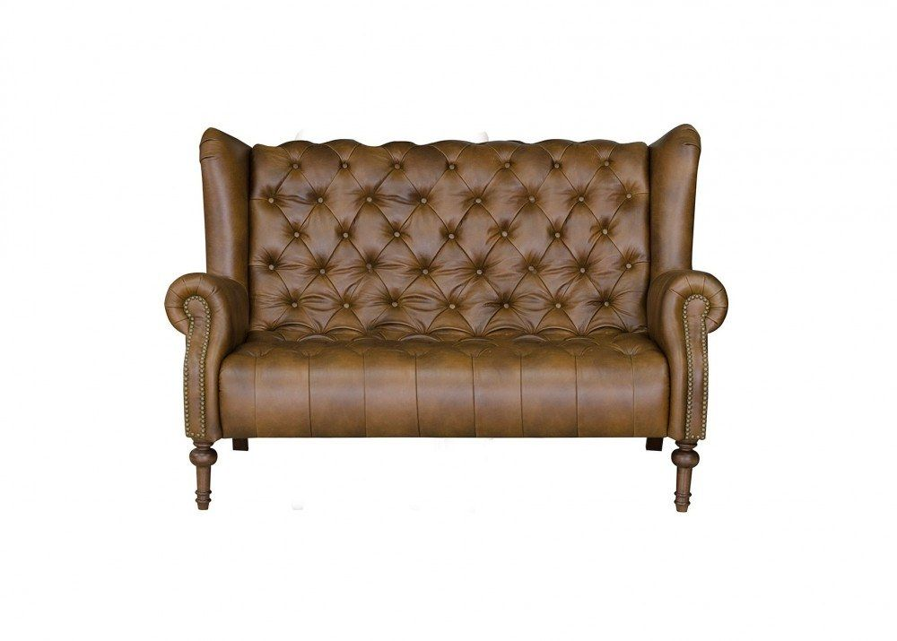 Alexander & James Theo Leather Highback Sofa | Button Back ...