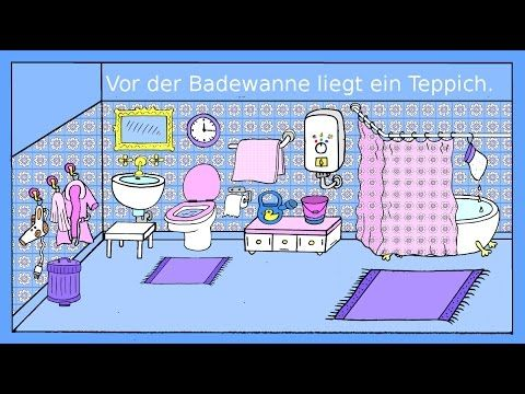 Deutsch lernen: Das Badezimmer - Dativ + Präpositionen - German for ...