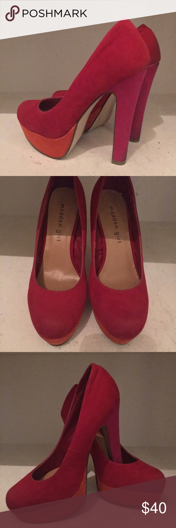 Madden Girl Colorblock Heels Great condition beautiful shoes. The heel is pink, sole is orange and base is red. No signs of damage just minor wear undetectable unless you're looking for it Madden Girl Shoes Heels