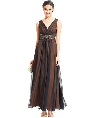 fb4b9ee028 Jessica Howard Sleeveless Beaded Empire-Waist Gown - Dresses - Women -  Macy s