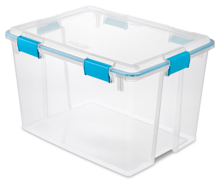 Superb Sterilite 80 Quart Gasket Box For Water And Air Protection. Long Term Paper  And Book