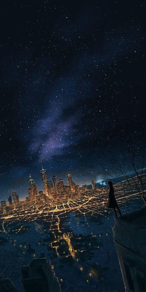 Art Night And City Image خلفيات خلفيات انمي Animewallpaper Wallpaper Galaxy Galaxywallpaper Ezmkurd Ku Japanese Artwork Anime Scenery Anime Wallpaper
