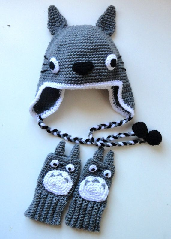 Sombrero y guantes sin dedos inspirados en Totoro.   Guantes sin ...