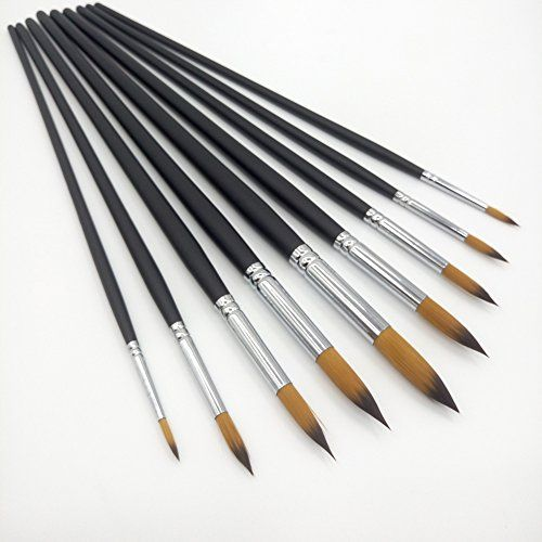 Art Brush 9 Nylon Hair Brush Oil Painting Watercolor Paint Brush