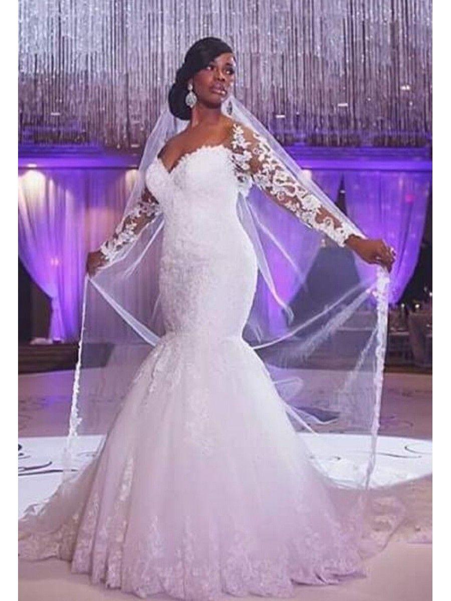 Long Sleeves Mermaid Lace Wedding Dresses Bridal Gowns 99603329 ...