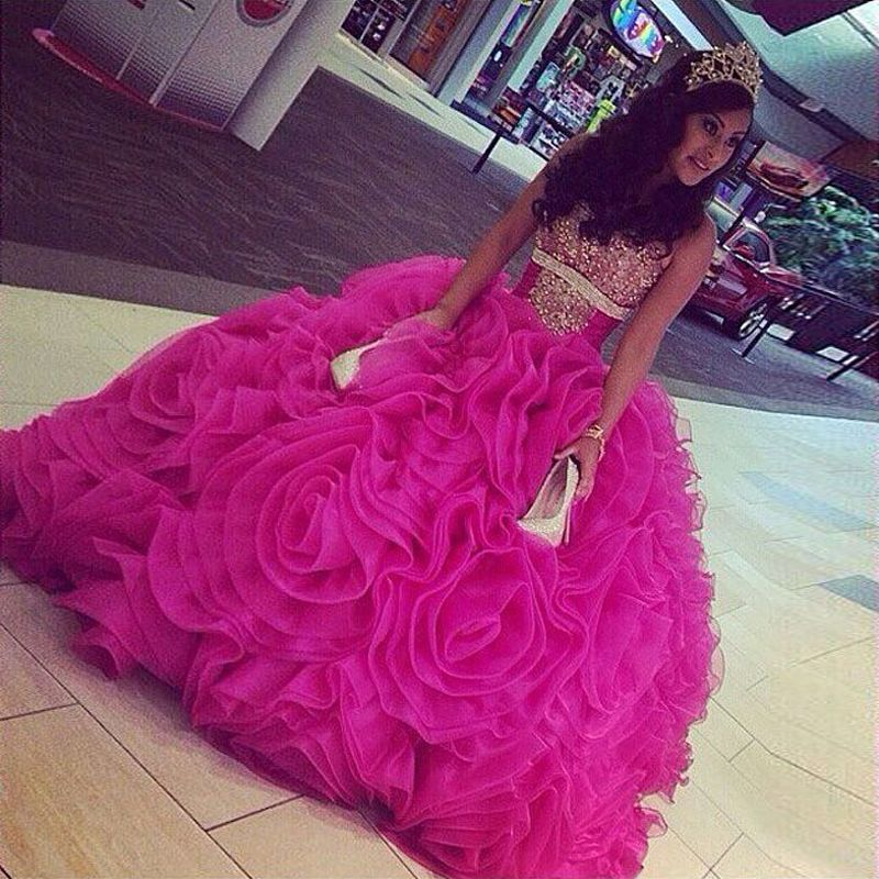 Find More Quinceanera Dresses Information about 2016 Fuchsia ...