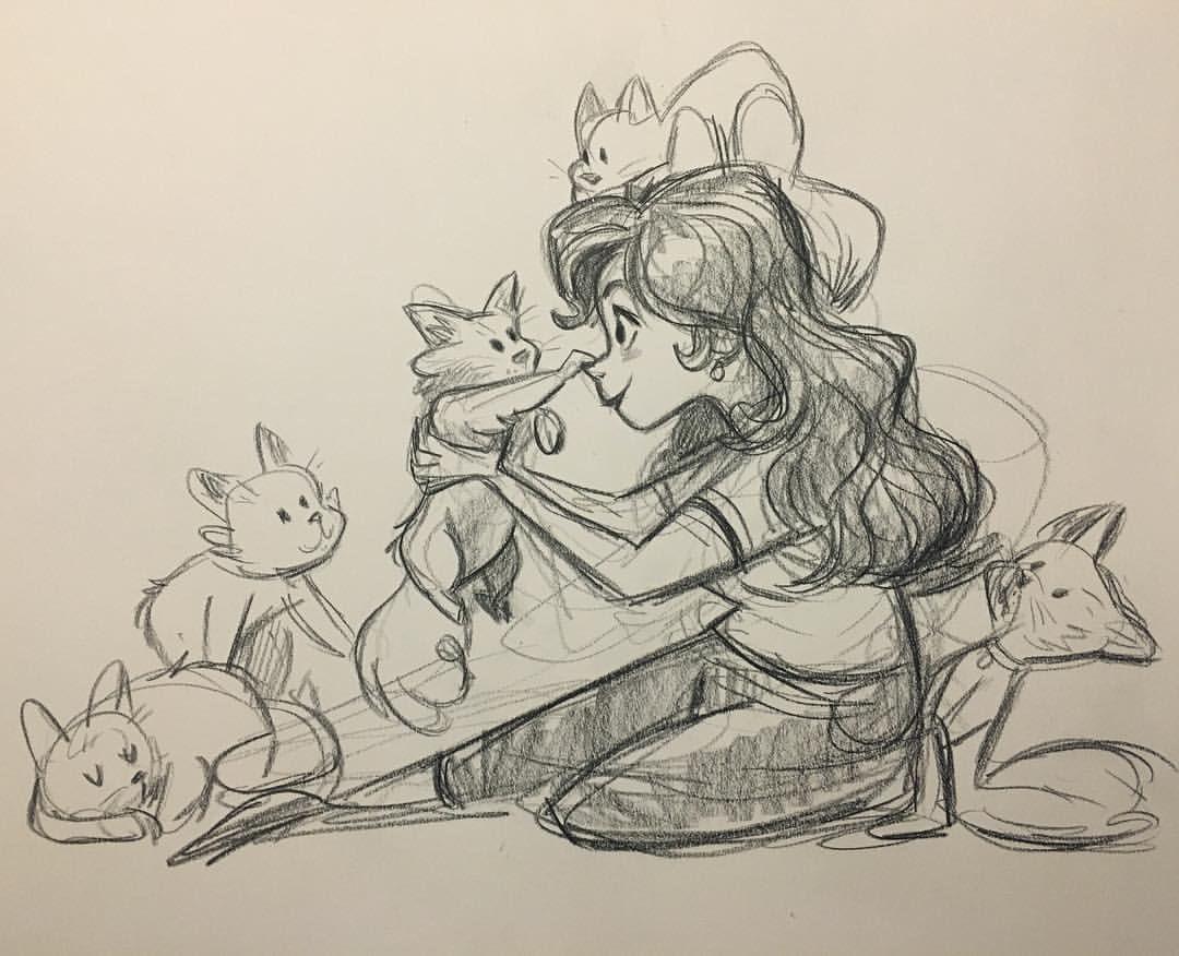 "flimflammeryart "" Meow. cats catlady sketch"