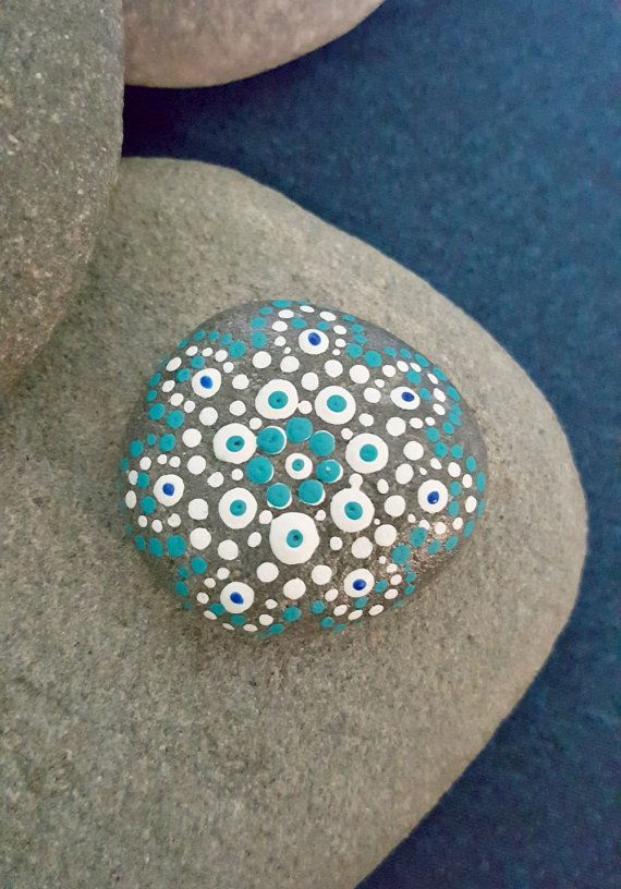 Playa Mandala Pintado Piedra Azul Blancos Punteados Painted Rocks Fairy Artwork Rock Art