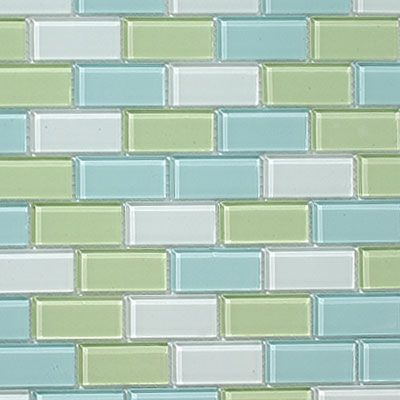 Glass subway tiles in muted sea glass colors of aqua and mintlove