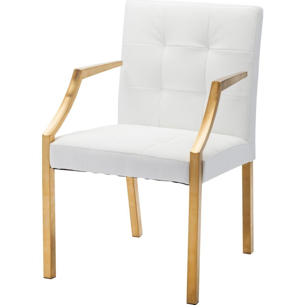 Nuevo Modern Furniture Hgtb346 Paris Dining Chair White Tufted