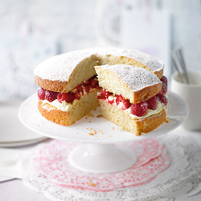 Victoria sponge with raspberry jam and buttercream.