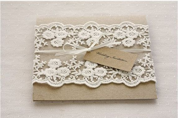 vintage rustic lace wedding invitations - Vintage Lace Wedding Invitations