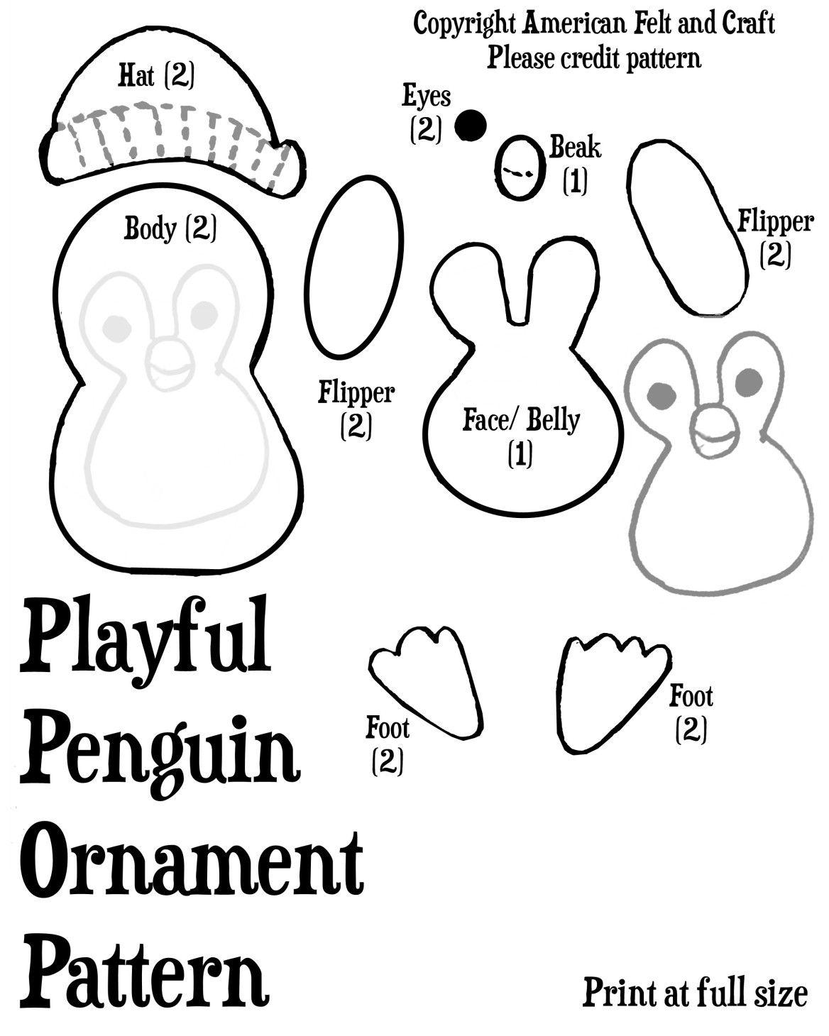 Playful Penguin Felt Christmas Ornament Pattern and