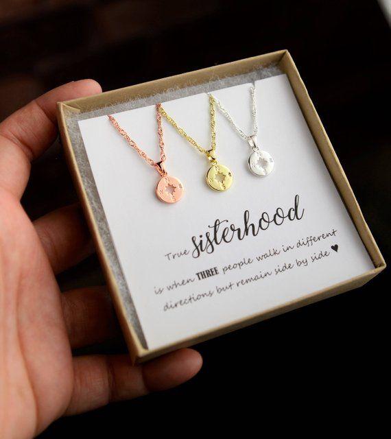Sister Gift Sister Bracelet/Necklace gift 2 3 4 5 6 7 three Sisters Compass necklace Wedding Gift Sisters Birthday best friend sorority gift #giftsforsister