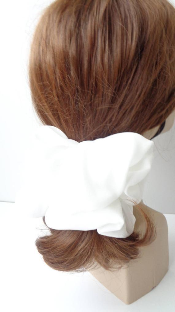 scrunchies scrunchy scrunchie  big white chiffon   hair scrunchie hair scrunchie  ,Chouchou, hair ac #hairscrunchie