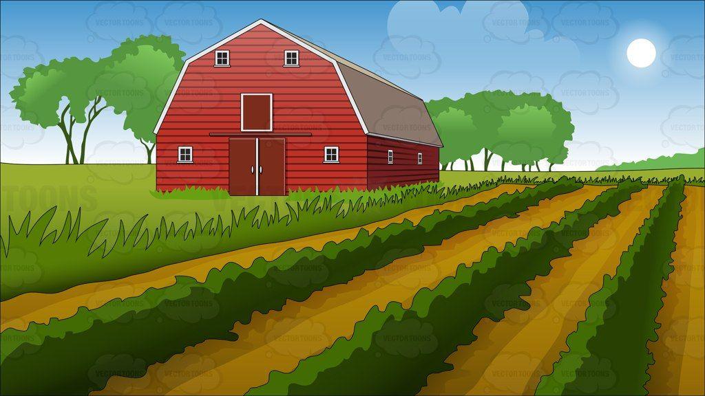 Farm Field And Barn Background | Farm cartoon, Farm art ...