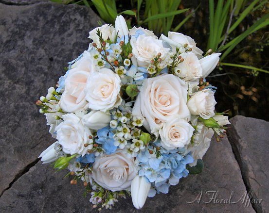 Blue Hydrangea And White Roses Bridal Bouquet   Google Search