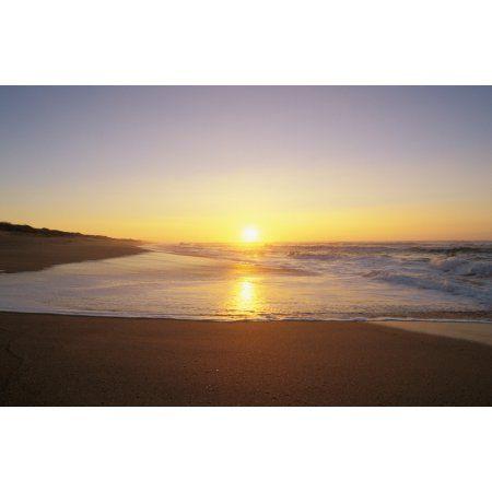 Hawaii Kauai Polihale Beach Beautiful Shoreline At Sunset Canvas Art - Bill Schildge Design Pics (34 x 22)