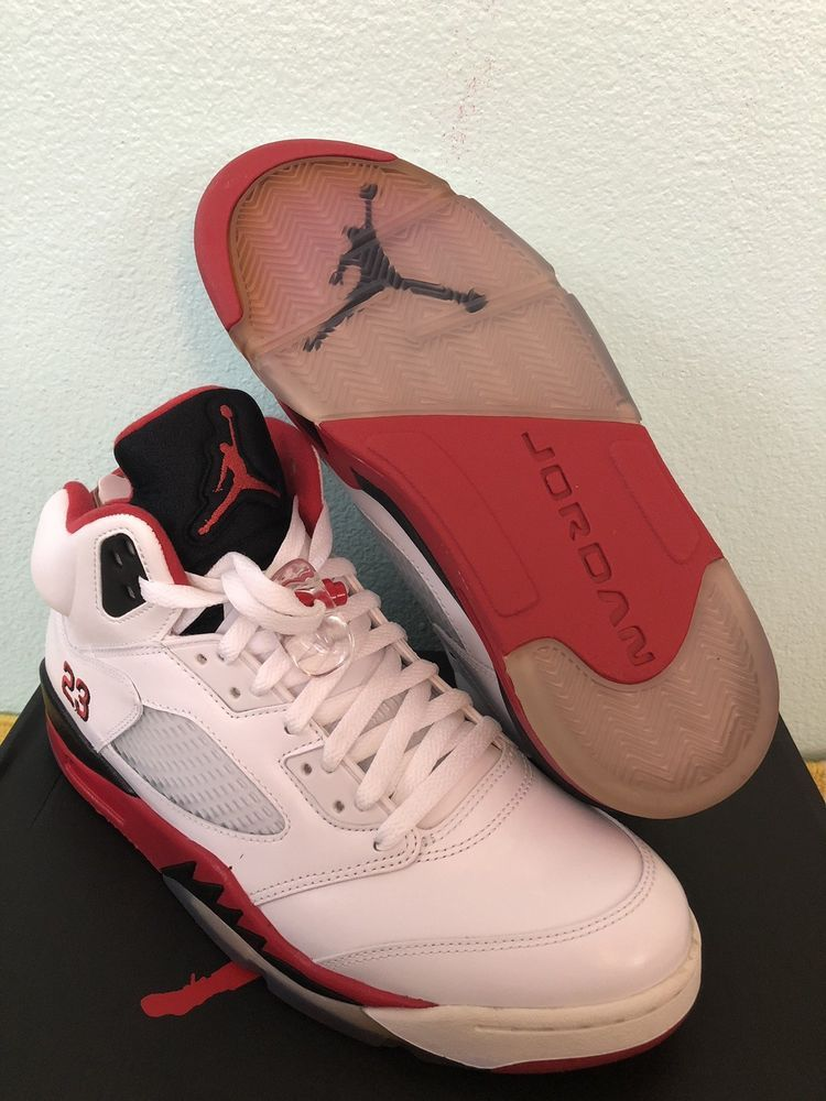 80cd2a565abf Nike Air Jordan V 5 Retro 136027-120 White Fire Red Black Tongue Mens Size  11  fashion  clothing  shoes  accessories  mensshoes  athleticshoes (ebay  link)