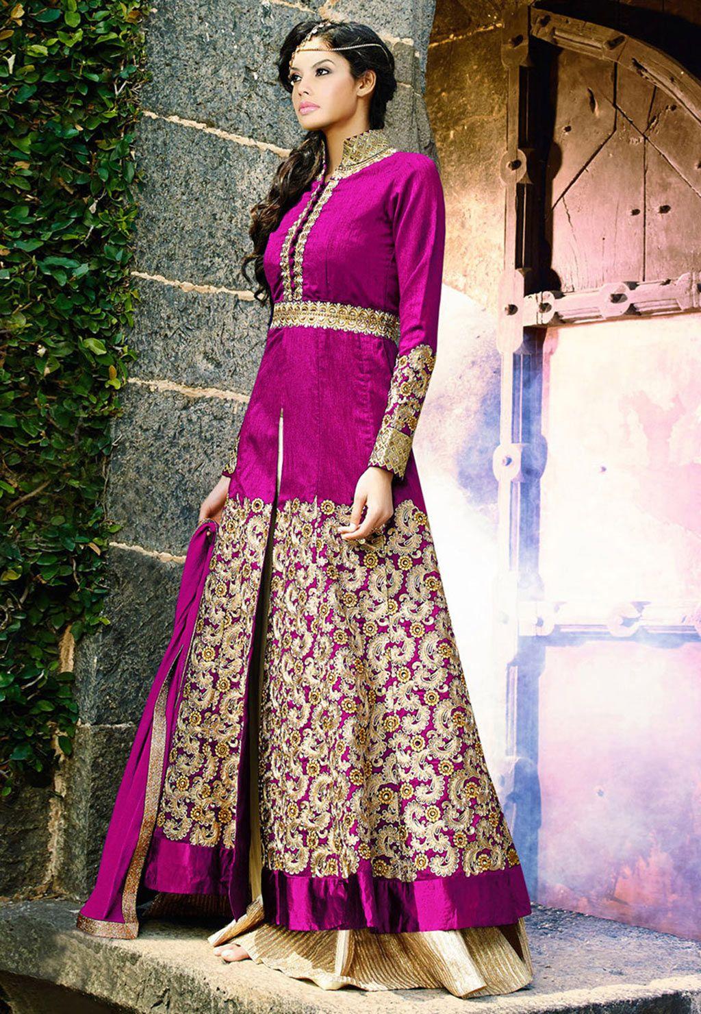 Magenta Banglori Silk Designer Suit 60094 | Indian clothes | Pinterest