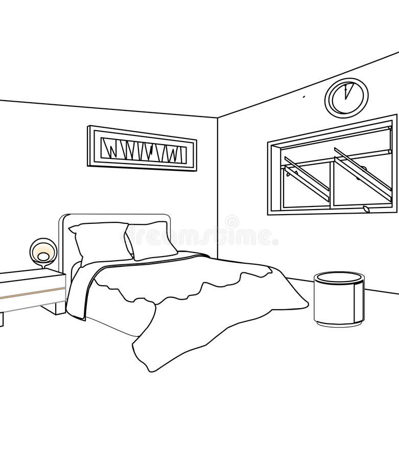 Bed Room Coloring Page Stock Illustration Illustration Of Kids Interior Design Kids Bedrooms Colors Kids Bedroom Designs