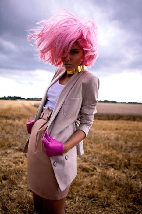 bright pink hair, short to medium length, matching pink gloves #hair #pink