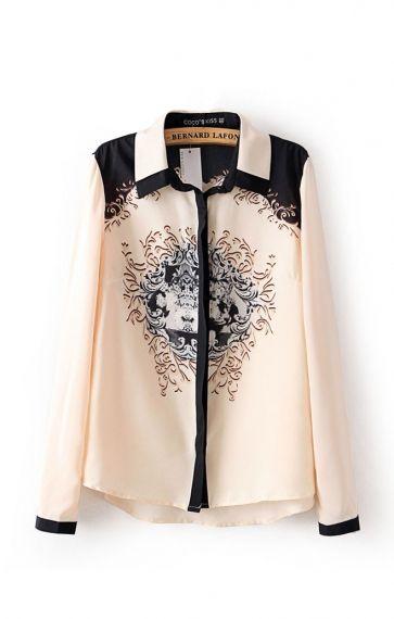 Fashion Lapel Long Sleeves Cotton Print Blouse
