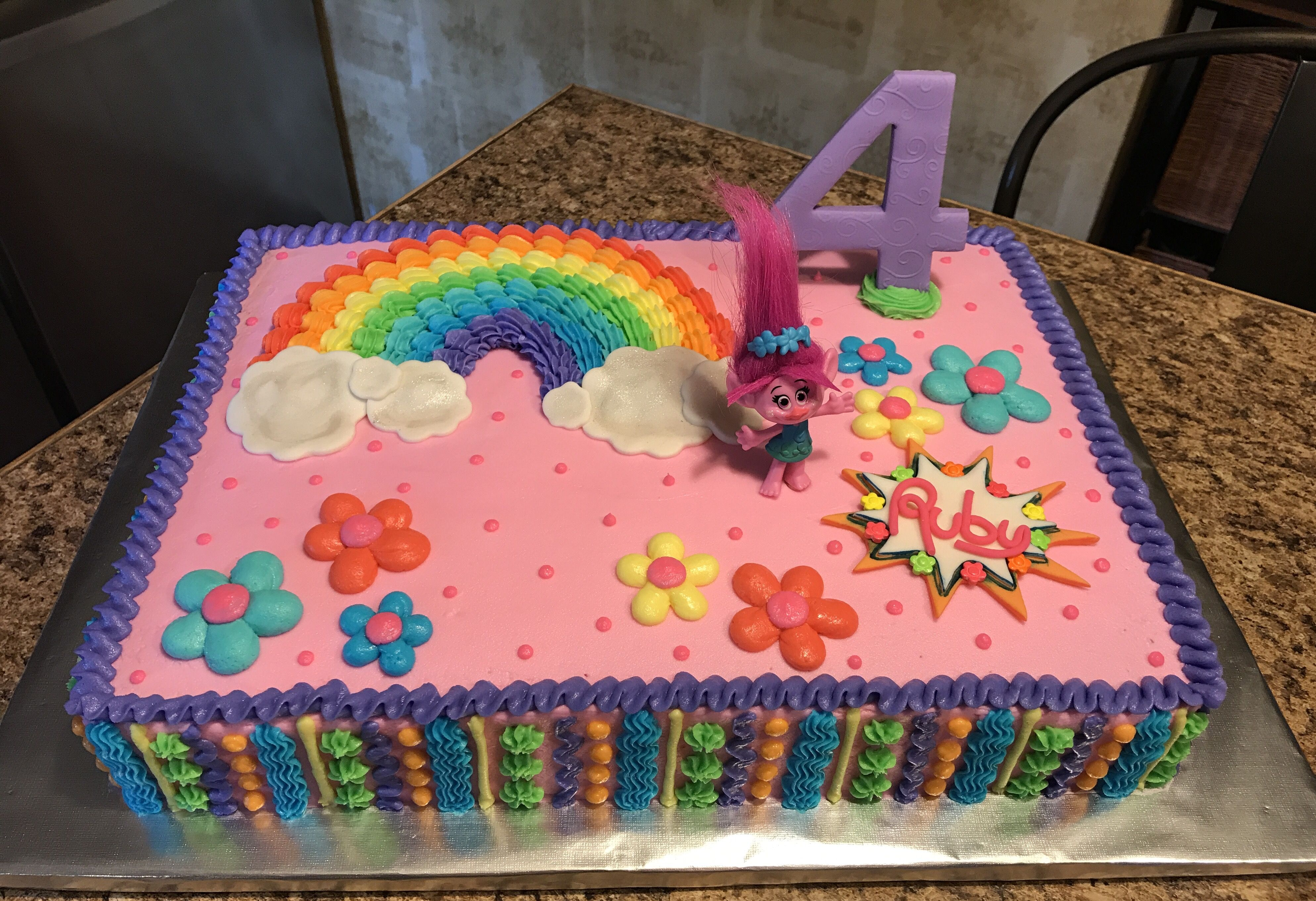 Troll Birthday Sheet Cake