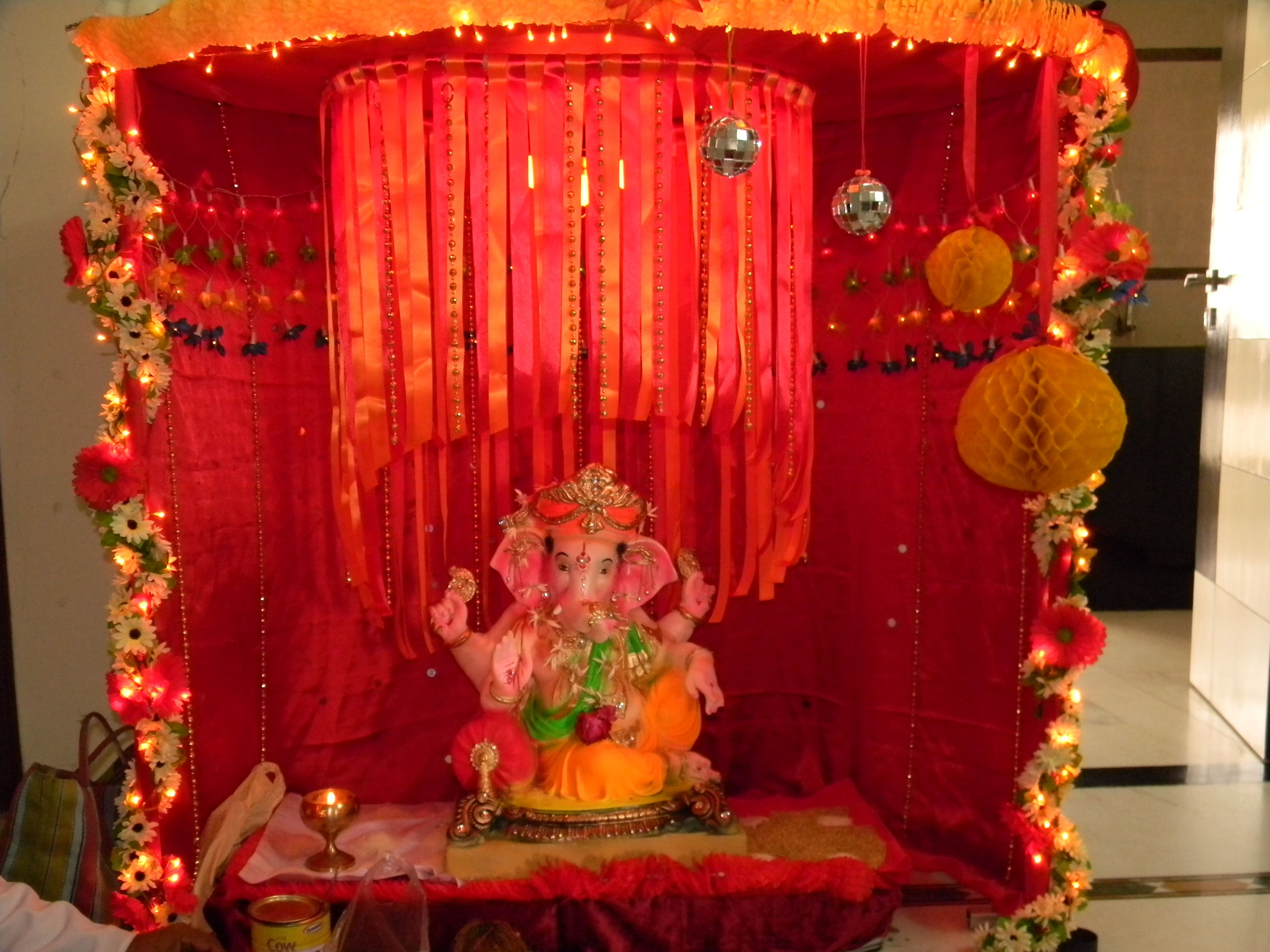 Mirror Balls Honeycomb Balls And Flower Decor On My Favourite Festival Ganesh Chaturthi