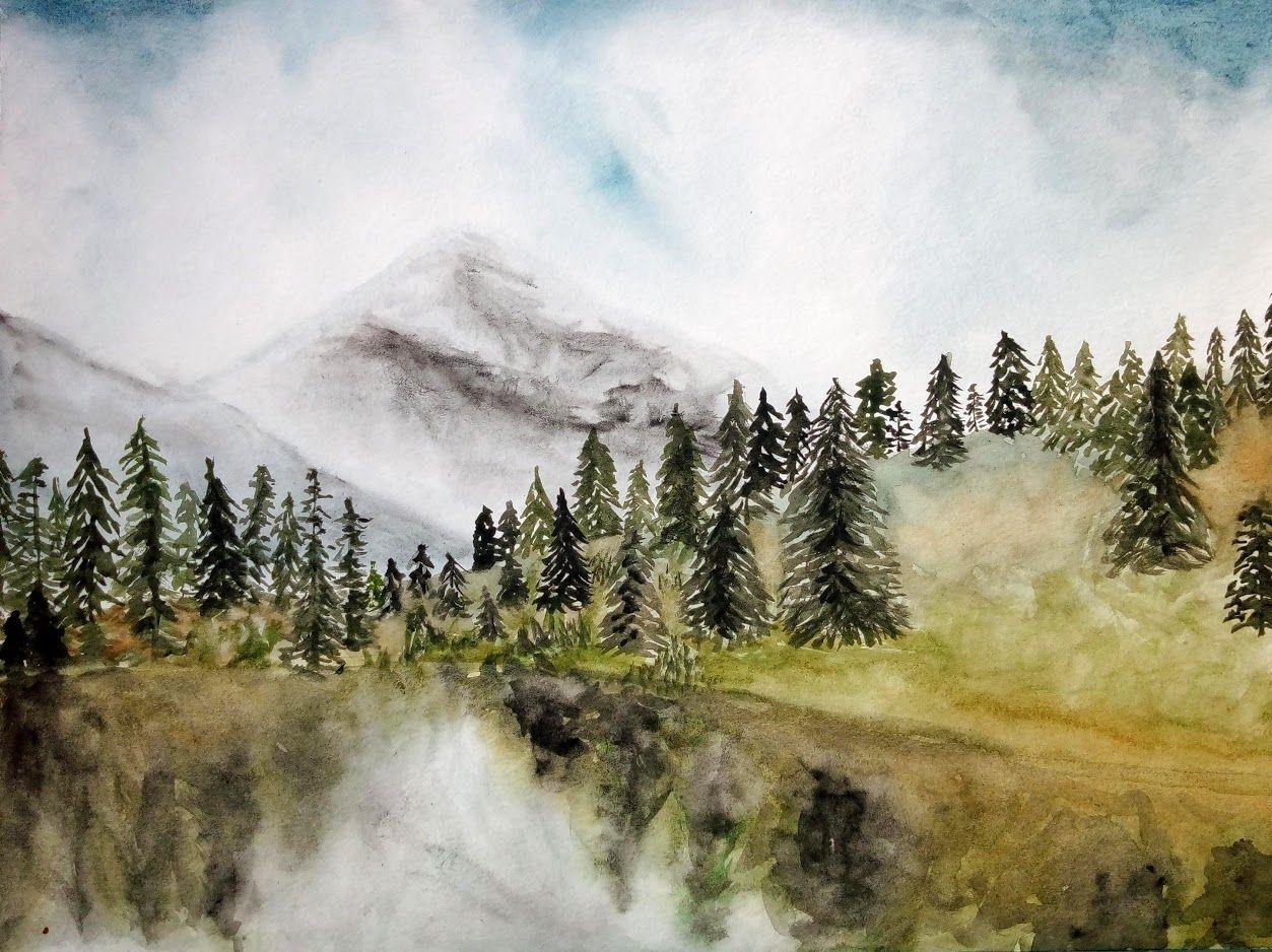 Mt Rainier Ete Aquarelle 8 X 10 Edition Limitee Giclees En