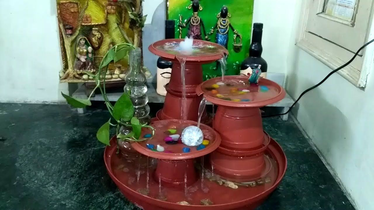 How To Make A Water Fountain Ll Table Top Water Fountain Ll Terracotta R Water Fountain Fountain Plastic Pots