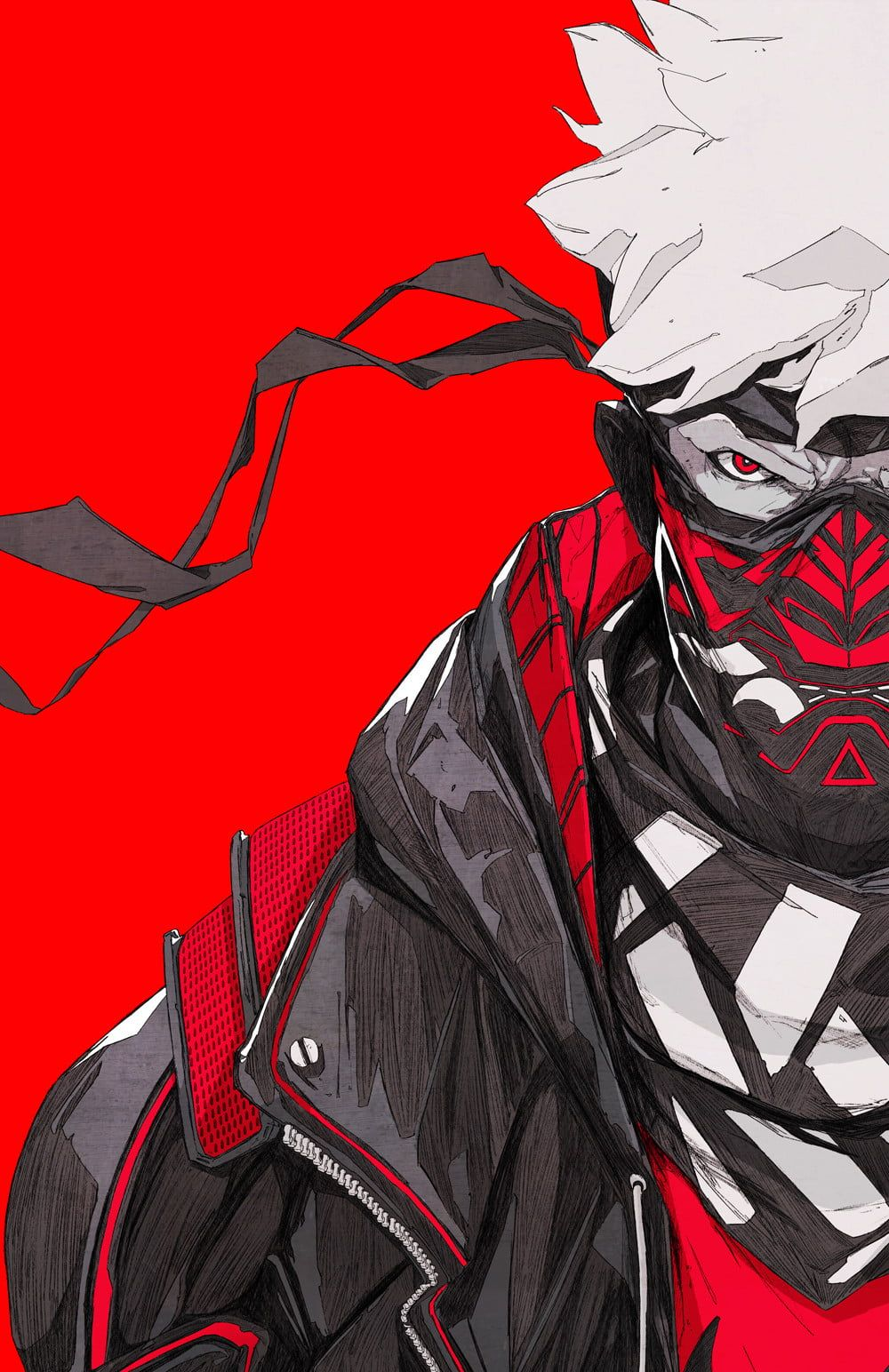 Chun Lo Artwork Illustration Digital Art Mask Warrior Cyberpunk Oni Mask Japan Red Background Sketches 2d Ninja Art Samurai Art Anime Character Design