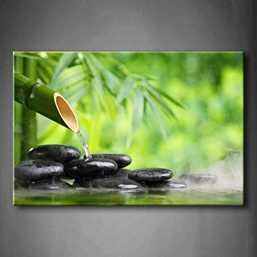 Green Spa Still Life With Bamboo Fountain And Zen Stone In Water Wall Art Painting The Picture Print On Canvas B Bamboo Fountain Glass Wall Art Bamboo Wall Art