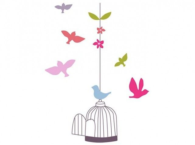 Sticker cage oiseaux verbaudet my bb dco little bird pinterest - Decoration cage oiseau ...
