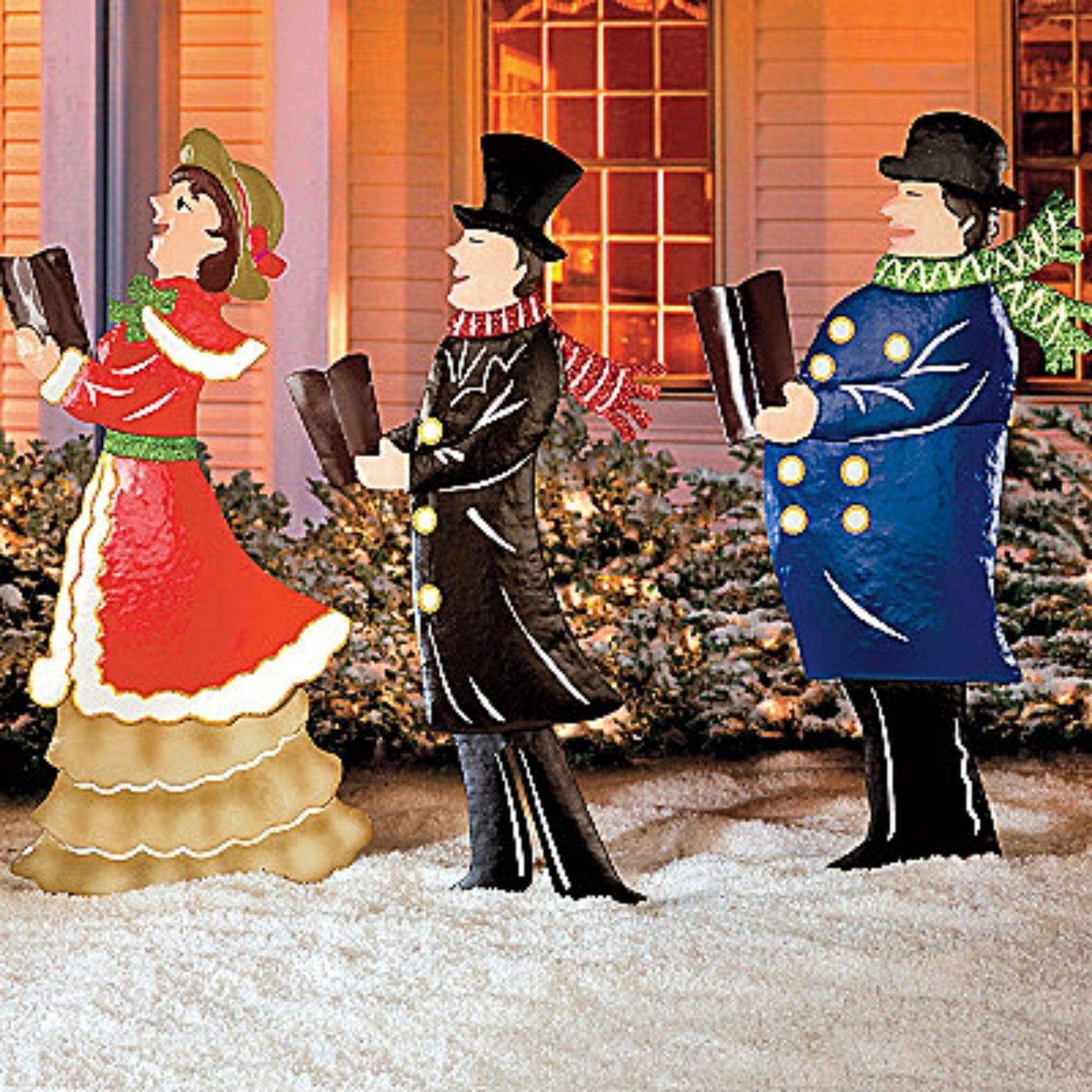 set of 3 metal christmas carolers outdoor yard display holiday decor outdoor christmas yard. Black Bedroom Furniture Sets. Home Design Ideas