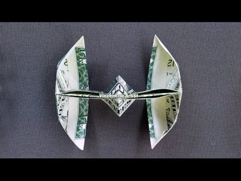 Money Origami TIE FIGHTER - with Link to Folding Instruction Video