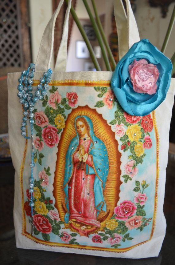 This Virgen de Guadalupe Applique Tote is very pretty . ( :