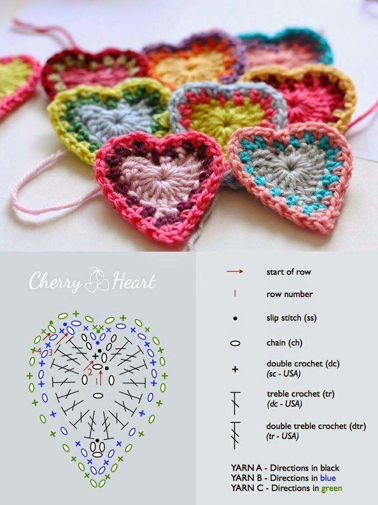 Tutoriales y DIYs: Ganchillo: corazón plano | Flor | Pinterest ...