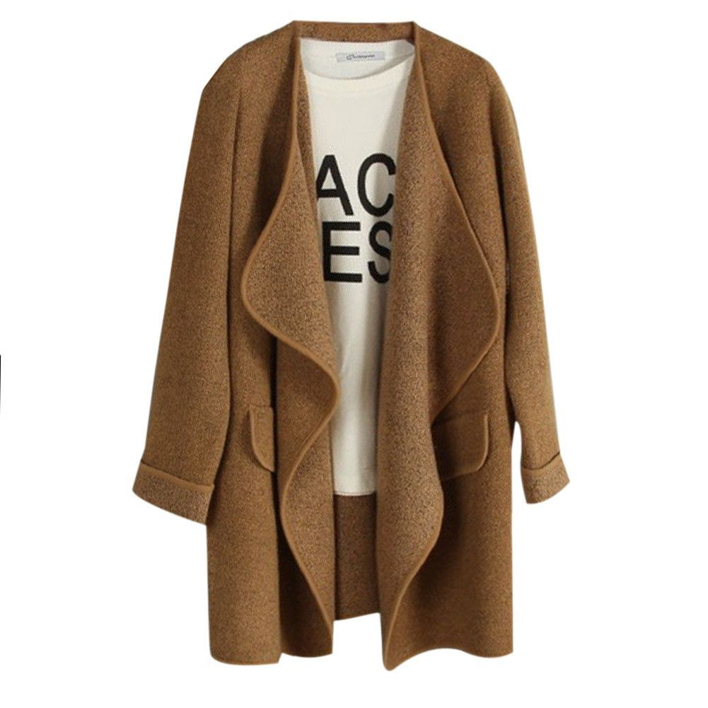 New Winter Women Knitted Cashmere Cardigan Sweater Long Solid Slim ...