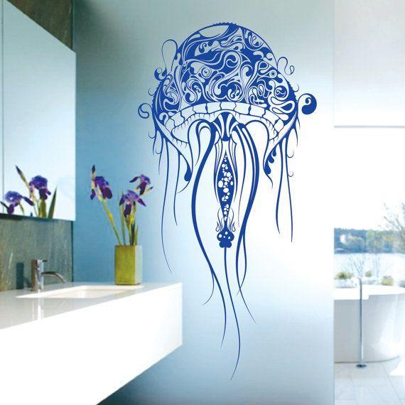 beautiful x large jellyfish bathroom vinyl wall decals art on wall stickers design id=58644