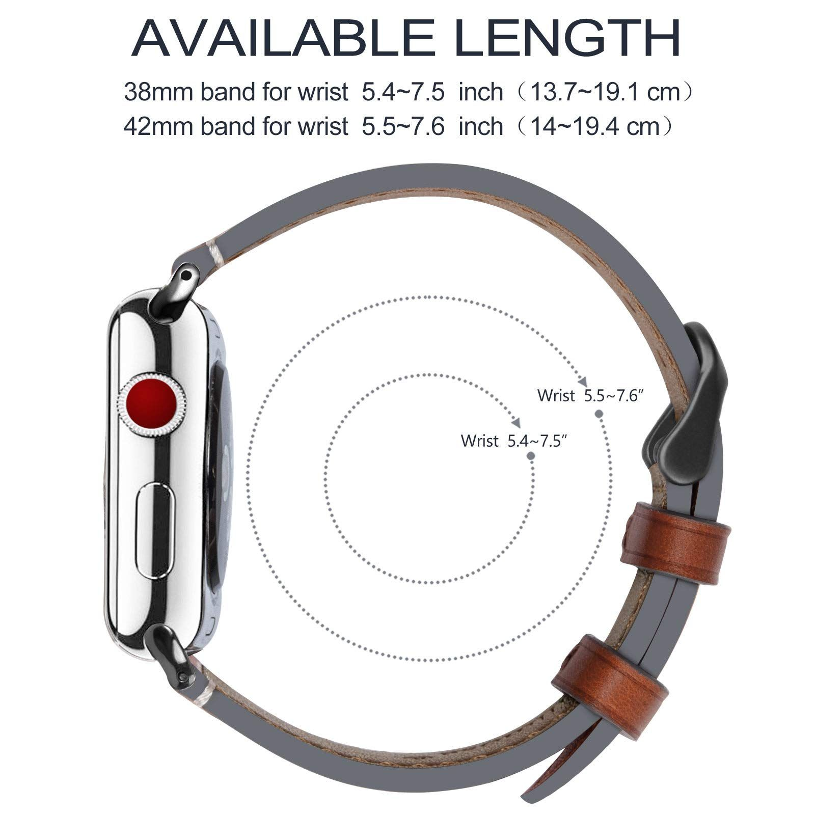 859f4f260dd Fullmosa Compatible Apple Watch Band 42mm 44mm 38mm 40mm Genuine Leather  iWatch Bands