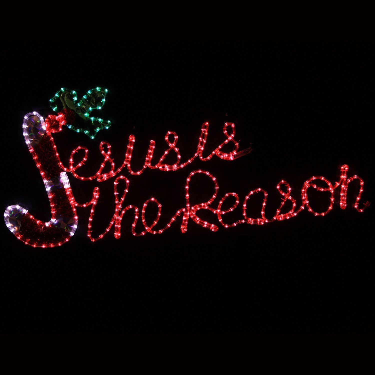 Jesus Is The Reason Christmas Hanging Outdoor Led Display Decorating With Christmas Lights Christmas Rope Lights Outdoor Christmas Decorations