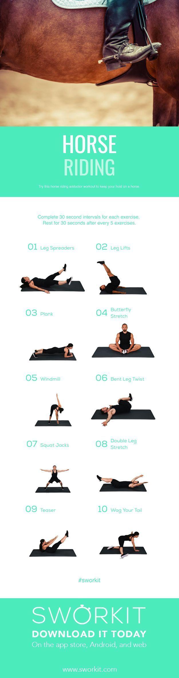 Sworkit Fitness Apps Reiten Konditionstraining. Konzentrieren Sie sich auf Ihre Addu ...,  #fitness...